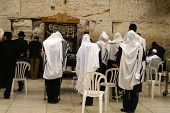 foto of tora  - Jewish prayers new wailing wall in Jerusalem Israel