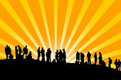 pic of sun rays  - People on the horizont  - JPG