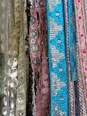foto of charminar  - Fine silk brocade saree fabric in Lad Bazaar in Charminar Hyderabad Andhra Pradesh India Asia - JPG