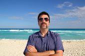 Nerd Tourist Mustache On Caribbean Beach poster