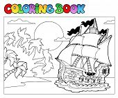 Coloring Book With Pirate Scene