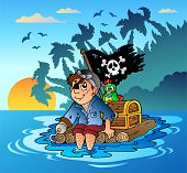 pic of flatboat  - Pirate sailing on wooden raft  - JPG
