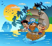 stock photo of pirate ship  - Three pirates in boat near island  - JPG