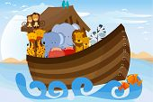 picture of noah  - A vector illustration of different wildlife animals on Noahs Ark - JPG