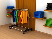 stock photo of clothes hanger  - Hanger with clothes any color - JPG