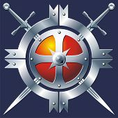 picture of armorial-bearings  - Iron buckler and cross swords on dark blue background - JPG