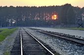 image of auschwitz  - The railroad and platform in the middle of camp Auschwitz Birkenau