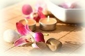 Orchid And Candle Outdoor Spa poster