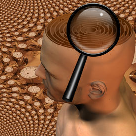 picture of dadaism  - High Resolution 3D Illustration Magnify glass and maze in mans head - JPG