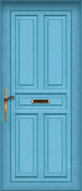 image of front door  - This is a Very High definition of a entire blue door with letter box - JPG