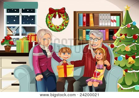 Grandparents And Grandchildren On Christmas Time