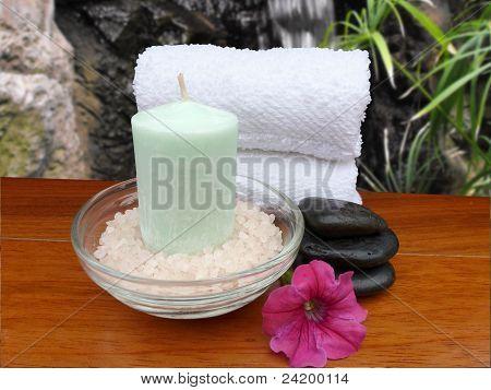 Spa Bath Preparation, Still Life Setup Includes Scented Candle, Fragrant Bath Salts, Tropical Flower