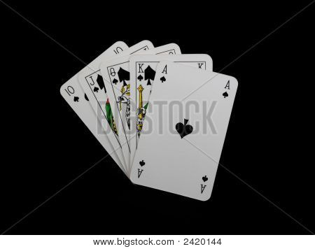 Poker Cards Isolated On Black