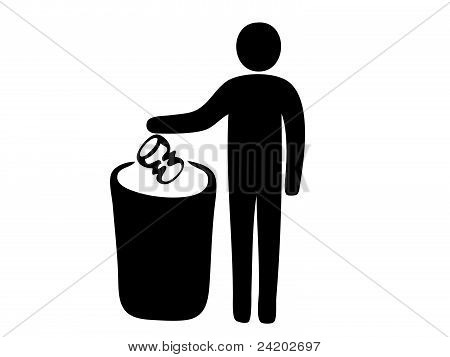 Pictogram of man putting garbage in dustbin