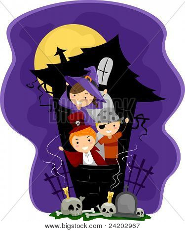 Illustration of Kids in a Haunted House