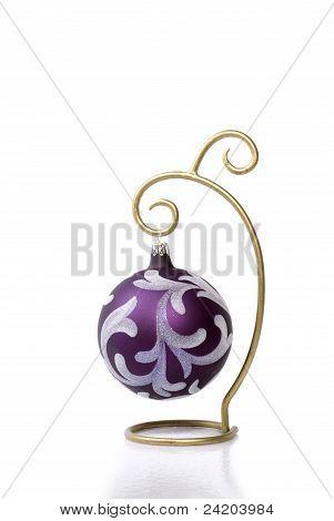 Purple Christmas Ornament On Gold Ornament Hanger