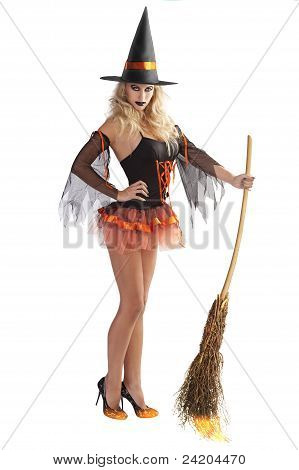 The Orange Witch Flying With Broom