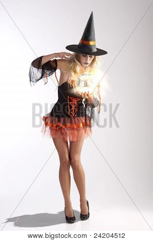 Haloween Witch With Magic Ball