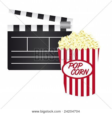 Clapper Board And Pop Corn
