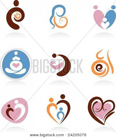 Collection of motherhood icons