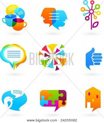 Collection of social media and network icons