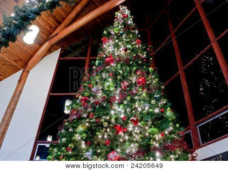 Very Large Inside Decorated Christmas Tree Dramatic
