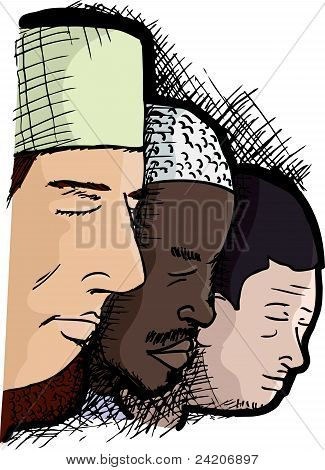 Muslim Men In Prayer
