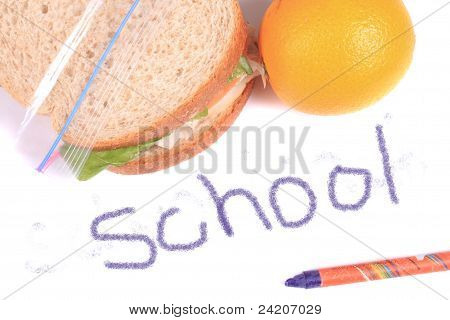 School Lunch Written In Crayon