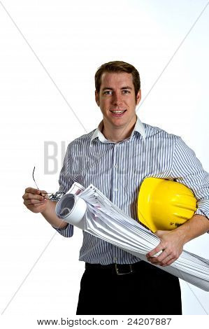 Construction Contractor Businessman On White