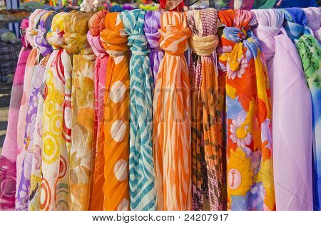 Multicolor Shawls And Scarves.