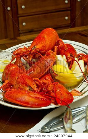 Fresh Cooked Red Lobster On A Serving Platter