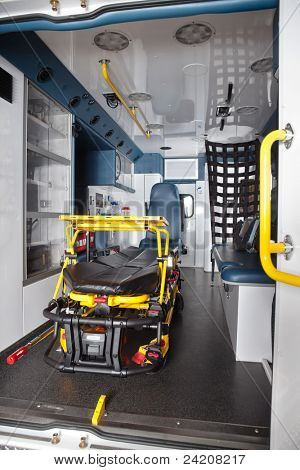 Detail of an empty ambulance interior with stretcher