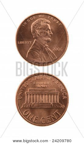 Us One Cent Coin Isolated On White