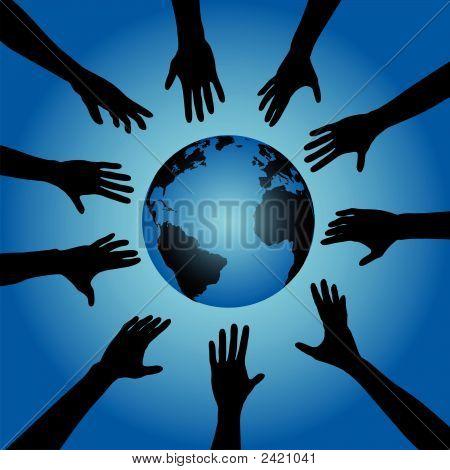Alcance de manos de personas para globo