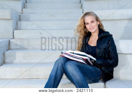 Pretty Student Girl With Books