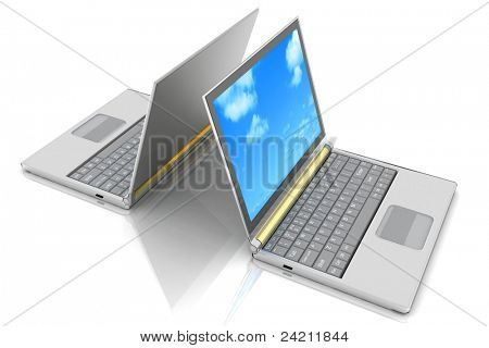 two laptops isolated over white background