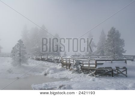 Snow covered wooden walkway leading to