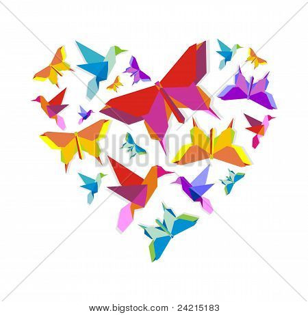 Feder Origami-Vogel-Liebe