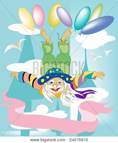 Clown and balloons