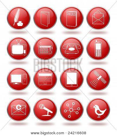 Conjunto de iconos de comunicación en esferas rojas