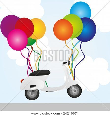 Motorbike And Balloons