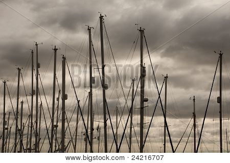 Masts and Stormy Sky