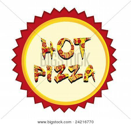 Etiqueta de la Pizza caliente