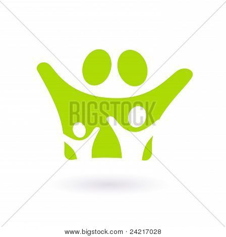 Family Icon Or Sign Isolated On White ( Green )..