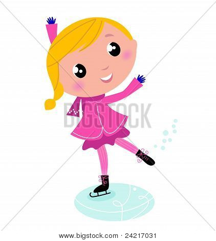 Figure Skating Cute Little Blond Child Isolated On White..