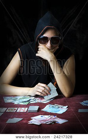 Poker Face. Person Playing Poker