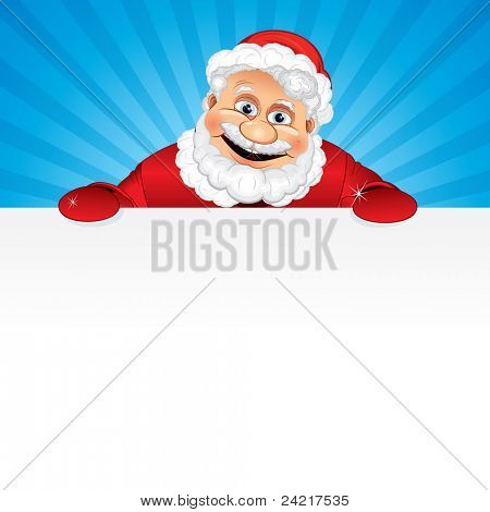 Cartoon Santa Claus holding a blank sign, illustration ready for your Greeting Text or Christmas design