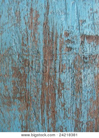 Closeup of old blue-painted wood