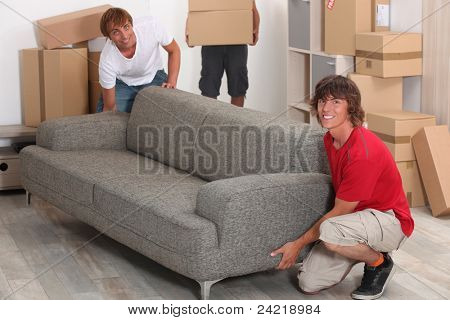 Men moving into new house