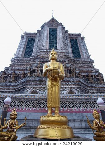 Budha Statue Stand Front Of Ancient Big Pagoda In Wat Arun